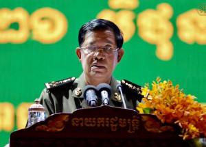 លោកនាយករដ្ឋមន្ត្រី ហ៊ុន សែន ថ្លែងក្នុងខួបទី១០ នៃទិវាអតីតយុទ្ធជនកម្ពុជា ថ្ងៃទី១០ ខែឧសភា ឆ្នាំ២០១៧។ Photo courtesy of PM Hun Sen's Facebook Page (Photo: RFA)
